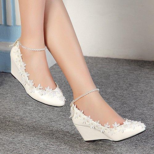 JINGXINSTORE Perle JINGXINSTOREPrincess pizzo floreale Cuneo Lady scarpe Nuziale matrimonio donne tacchi alti White
