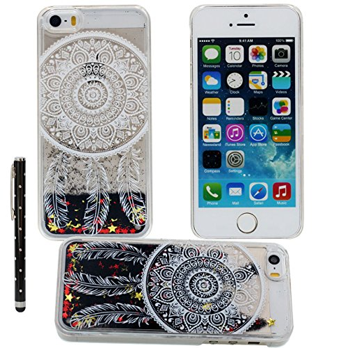 Case iPhone SE Liquide Eau Coque, Transparente Dur Étui Protection avec Écoulement Étoiles Poudre noire Désign pour Apple iPhone 5 5S SE 5G, Ananas Blanc Motif Case Avec 1 stylet color-6