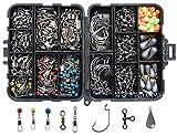 JSHANMEI 160stk/box Angeln Angehen Box Kit, inkl. Jig Haken, Bullet Bass Werfen Sinker Gewichte, verschiedene Angeln Wirbel Snaps, Sinker Slides, Angelleine Perlen, Angelzubehör Set mit Angehen Box