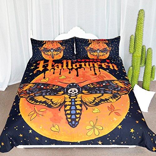 ARIGHTEX Death Moth und Blume Betten 3Stück Orange Halloween Kürbis Bettbezug Set Gothic Totenkopf Tagesdecke, Schmetterling Twin