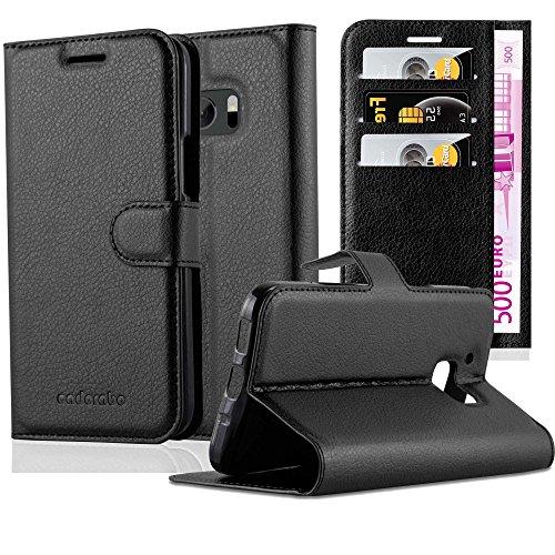 Cadorabo Hülle für HTC ONE M10 - Hülle in Phantom SCHWARZ – Handyhülle mit Kartenfach und Standfunktion - Case Cover Schutzhülle Etui Tasche Book Klapp Style