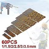 JTENG 60 uds. Set Taladro Micro 1 / 1,5 / 2 / 2,5 / 3 / 3,5 mm de titanio de alta velocidad HSS brocas helicoidales de metal Taladro pone el bit Profi de siembra (10 p. * 6 Pack)