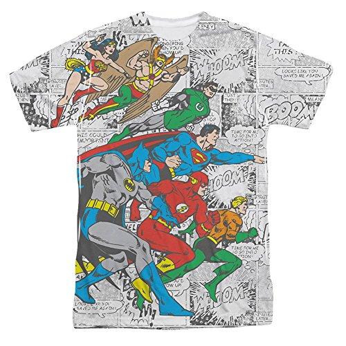 DC Comics Justice League Face Off Comic Panels Adult Front Print T-Shirt Tee - Front-print-tee