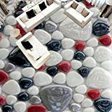 3D Wallpaper Wandaufkleber, Verdickung Benutzerdefinierte Farbe Kopfstein Bodenmalereien, Wandbild Tapete Boden Decor Für Wohnzimmer Badezimmer Moderne Wandkunst Boden