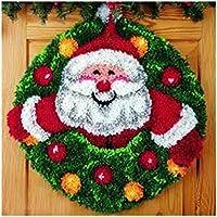 7 Modell Weihnachten Knüpfteppich für Kinder und Erwachsene zum Selber Knüpfen Teppich Latch Hook Kit child Rug Christmas111 52 by 52 cm