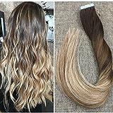 "Ugeat 14""/35cm Dritto Estensione dei Capelli Umani Veri 50Gammo Balayage Color PU Estensione Brasiliano Tape On Human Hair Extension Dark Brown with Midium Brown to Bleach Blonde #4/6/613"