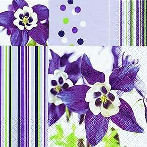 20 Servietten Akelei / Blumen / Blumenmotiv 33x33cm