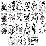 FLOFIA 22 Stück Schablonen Set für Bullet Journal Scrapbooking Fotoalbum Weihnachten Muster Zeichenschablonen Malerei Basteln Schablone Vorlagen für Planer Notebook Tagebuch Diary Handwerk Plastik