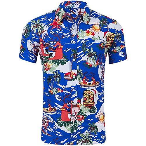 Shujin Herren Sommer Strandhemd Hawaii-Print mit Flamingo Print Beach Motiv Kurzarm Urlaub Hemd Freizeit Reise Hemd Party Kurzarmshirt (Knallblau, L)