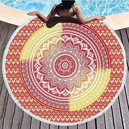 WSW Runde Strandtuch Decke Mandala Werfen Hippie Tapisserie Tischdecke Meditation Yoga Picknick Matte Reise Bad Mikrofaser Schal Roundie Sonnencreme Camping 2 Clips Persönlichkeit Mode