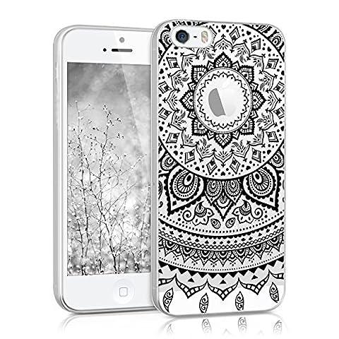 kwmobile Hülle für Apple iPhone SE / 5 / 5S - TPU Silikon Backcover Case Handy Schutzhülle - Cover klar Indische Sonne Design Schwarz