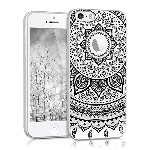 kwmobile Funda para Apple iPhone SE / 5 / 5S - Carcasa de [TPU] para móvil y diseño de Sol hindú en [Negro/Transparente]