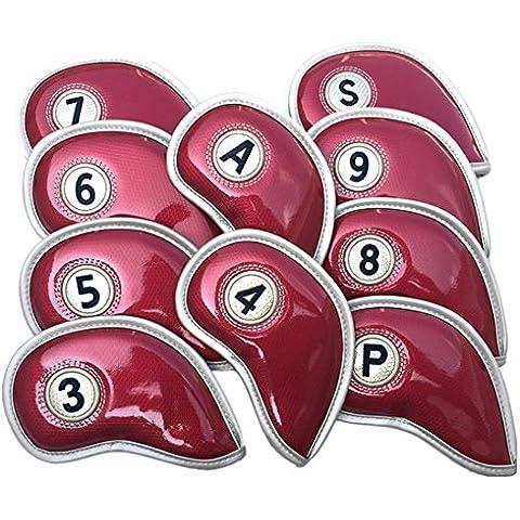 Fundas para cabezas de golf, 10pcs hierro Golf Club cabeza Covers deportes protectora piel sintética con superficie del espejo cristal, rojo