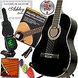 ASHLEY Klassik Konzert Gitarre Schwarz mit Set mit Lehrbuch: Akustikgitarre inkl. CD und DVD Lehrgang!, Tasche, Stimmgerät, Kapodaster, Saiten, und 3x Plektren