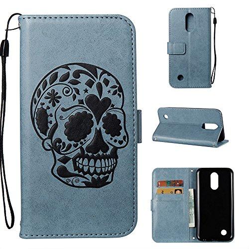 Linvei LG K10 Hülle, LG K10 2017 Handyhülle, Flip Case Cover Schutzhüllen mit Kreditkartenhaltern, Ständer, Magnetverschluss-Hellblau
