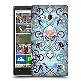 Offizielle Micklyn Le Feuvre Indigo Blau Art Nouveau Mit Pfirsichblumen Muster 2 Ruckseite Hülle für Nokia Lumia Icon / 929 / 930