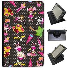 Mania de pirate avec trésor et les perroquets en simili cuir Snuggle Étui Coque Sac avec support de visionnage pour tablettes Linx Linx 810B 8 inch Pink Pirate Girls With Parrots