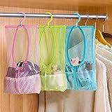 Okayji Multi Purpose Hang Mesh Bag Clothes Storage Laundry Bags for Bathroom Organizer Closet Rack Hangers, 3 - Pieces