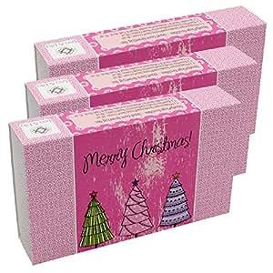 3 Stück Handcreme X-Mas Geschenkset, hübscher Geschenkkarton mit Grußfeld zum Beschriften, Inhalt: jeweils 3 verschiedene Handcremes in Reisegrößen. Zu Weihnachten ein ideales kleines Geschenk!