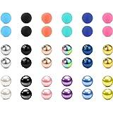 LAURITAMI 36pcs Piercing Palline di Ricambio 16G 3mm Acciaio Chirurgico e Acrilico Labret Ring Balls Barbell Bilanciere Gioie