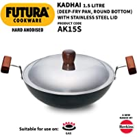 Hawkins Futura Hard Anodised Round Bottom Deep-Fry Pan with Steel Lid, 22cm/1.5 Litres