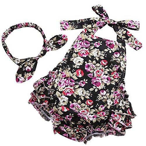 URSING-Sugling-Baby-Mdchen-Blumendruck-rmellos-rckenfrei-Slinghemd-Hngender-Hals-Spielanzug-kurze-Hose-Spielanzug-Stirnband-schn-weich-Kleider-Set