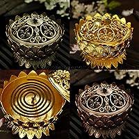 ELECTROPRIME Copper Lotus Incense Burner Flower Statue Censer for Stick & Cone Incense S