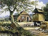 Artland Qualitätsbilder I Bild auf Leinwand Leinwandbilder Wandbilder 60 x 45 cm Landschaften Garten Malerei Grün B8QW Idyllische Farm mit Hühnern und Ziegen