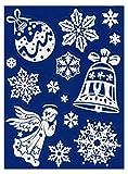 dpr. Fensterbild Set 14-TLG. alt-weiß Schneeflocken Glocke Engel Christbaumkugel Fenstersticker Fensterdeko Weihnachtsdeko