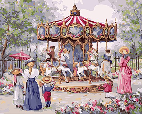 """CaptainCrafts Nouvelle peinture par numéros 16x20"""" pour les adultes, enfants toile - Souvenirs de carrousel d'enfance (Avec cadre)"""
