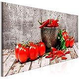 decomonkey Bilder Küche Gemüse 150x50 cm 1 Teilig Leinwandbilder Bild auf Leinwand Vlies Wandbild Kunstdruck Wanddeko Wand Wohnzimmer Wanddekoration Deko Paprika Tomate
