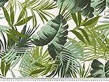 Dekostoff, Blätter, weiß-grün, 140cm