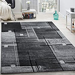 Paco Home Tapis Chic Noble Moderne à Contour Abstrait Gris Noir Moucheté, Dimension:240x340 cm