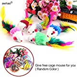Pack of 5 Furry kitten Mice Cat Toys with Feathers and Fur