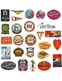 Chileeany Lot DE 55 Rétro Vintage Stickers Valise Autocollants pour Valise Voyage Skateboard Guitare(World Tour)