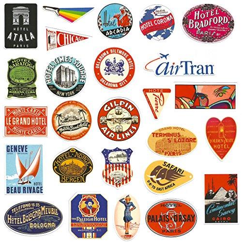Chileeany 55 Pezzi - Adesivi Valigia, Retro Vintage Stickers per Valigia, Skateboard, Chitarra (World Tour)