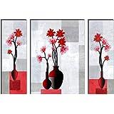 SAF UV Textured Flower Print Framed Painting Set of 3 for Home Decoration (Synthetic, 12 inch x 18 inch, Set of 3) SANFJMA62