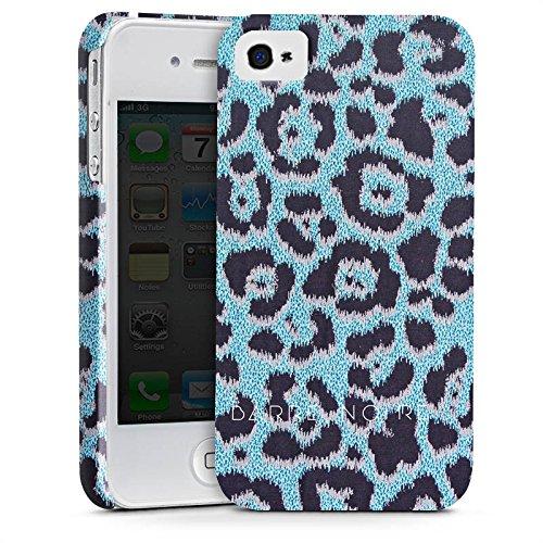 Apple iPhone X Silikon Hülle Case Schutzhülle Leo Muster Blau BARRE NOIRE Premium Case glänzend