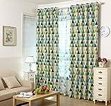 Juego de 2Geometría Triángulo Espacio DKL cortinas para niño niña infantil, metal, verde, 175*140