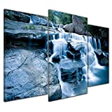 Bilderdepot24 Kunstdruck - Drakensberg Wasserfall - Bild auf Leinwand - 100x60 cm dreiteilig - Leinwandbilder - Bilder als Leinwanddruck - Wandbild