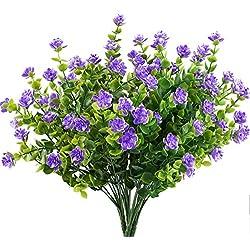 MIHOUNION Planta Artificiales 4pcs arbustos Ramas de eucalipto con Flor Púrpura Plastic arbustos jarrones Decoración Casa Jardín de la Oficina Patio Patio Interior Decoración al Aire Libre