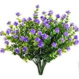MIHOUNION 4 Pcs Fleurs Artificielles Violet Faux Bouquet Simulation Plante Artificielle pour Maison,Bureau,Party,Marriage