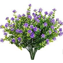 planta artificiales MIHOUNION 4pcs arbustos Ramas de eucalipto con flor púrpura Plastic arbustos jarrones decoración Casa Jardín de la oficina Patio Patio interior Decoración al aire libre