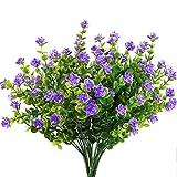 MIHOUNION fiori di plastica 4 pcs piante finte pianta verde arbusti rami di eucalipto con fiore viola cespugli di plastica pianta gancio di fiore giardino patio cortile coperta decorazione esterna