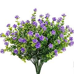 Idea Regalo - MIHOUNION fiori di plastica 4 pcs piante finte pianta verde arbusti rami di eucalipto con fiore viola cespugli di plastica pianta gancio di fiore giardino patio cortile coperta decorazione esterna