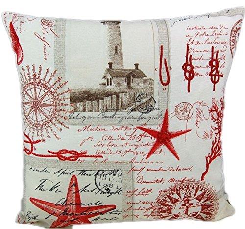 Leuchtturm Rot Maritime Kissenhülle 45x45 cm Nautik Vintage Kissenbezug Cushion Case J....