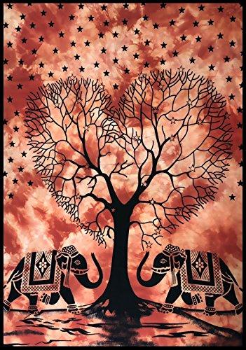 Bellamira Poster 'Segnungen von Lord Ganesha' –Meditation Baumwolle Tapisserie Ganesha Elefanten Gott Lebensbaum Größe 76,2x 101,6cm Kunst Wand Batik Druck Elephant Tree of Life Print - Rust