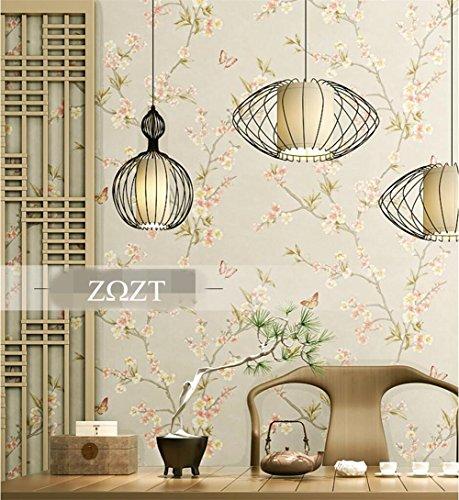 MOPP Tapeten Tapete Retro Nostalgie Landhausstil Blumenmuster 3D Wallpaper Roll für Wohnzimmer/Schlafzimmer/TV Wand/Kleidung Shop/Restaurant, D