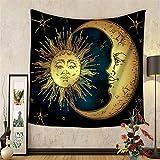 HANSHI Wandteppich mit indischem Stil brennend Sonne und Mond Eizigartiges Design bringt Ihr Zimmer exotisches Gefühl H