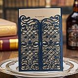 VStoy Vintage Laser Cut tarjetas invitaciones de boda azul 20piezas Kit para el matrimonio de compromiso novia ducha puerta abierta diseño de cumpleaños con sobres sellos de recuerdo de la fiesta